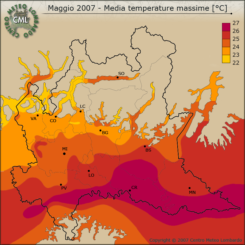 Maggio 2007 - Media temperature massime [°C]