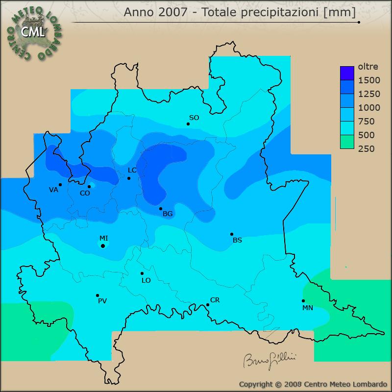 Cartina Meteorologica Dell Italia.Cml Mappe La Carta Della Precipitazione Totale Per L Anno 2007